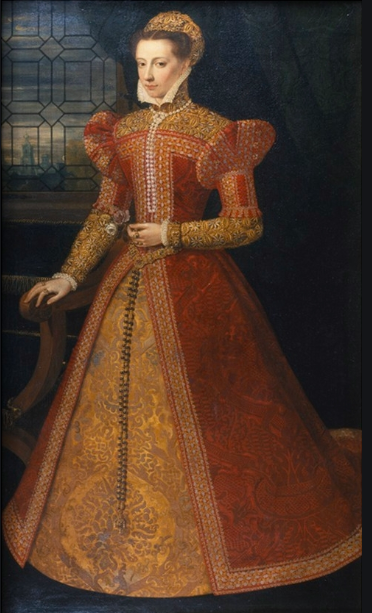 The Carleton Portrait in Chatsworth House traditionally identified as Mary Queen of Scots and attributed to Federico Zuccaro.